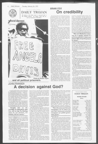 Daily Trojan, Vol. 64, No. 75, February 24, 1972