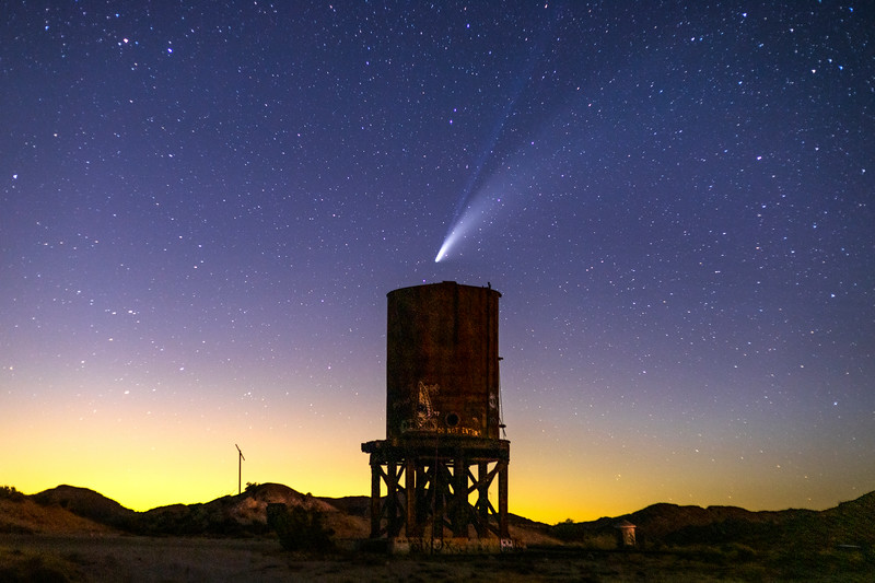 Incoming: Comet NEOWISE Over Water Tower.