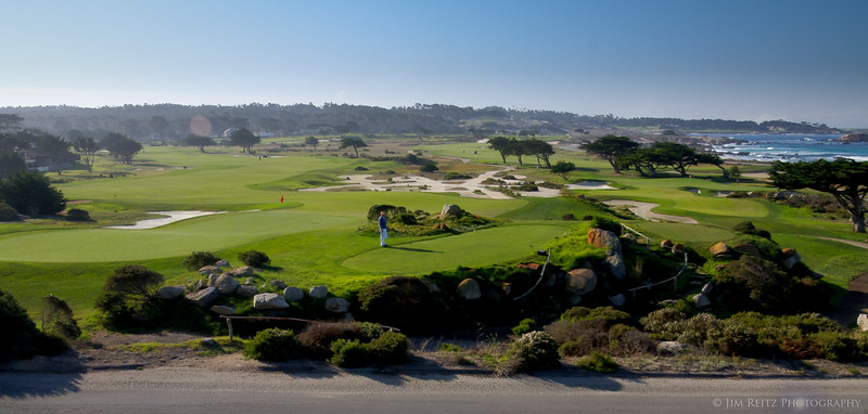 Monterey Peninsula Country Club - the beautiful Shore Course. Windswept view of the back nine looks like a painting. In the far distance you can see bits of Spyglass Hill & Cypress Point, illustrating just how close together these courses are.