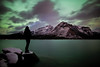"""Falling Skies"" V<br /> <br /> November 14th aurora at Lake Minnewanka, Banff National Park, Alberta, Canada."