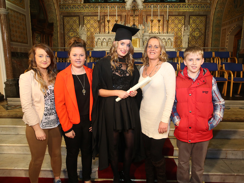 Pictured is Cassandra Kelly, Wexford who graduated Bachelor of Arts (Hons) in Psychology. Also pictured are Julianne, Shannon, Carol and Oisin Kelly. Picture: Patrick Browne.