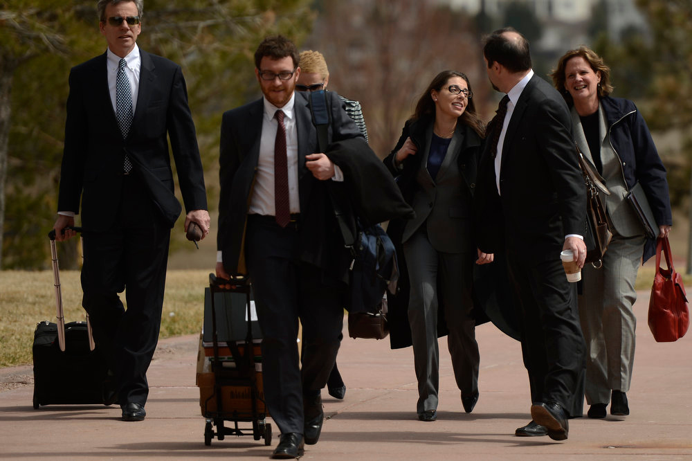 Description of . New York-based Fox News reporter, Jana Winter arriving for the afternoon session of the James Holmes hearing at the Arapahoe County Justice Center April 01, 2013 Centennial, Colorado. (Photo By Joe Amon/The Denver Post)