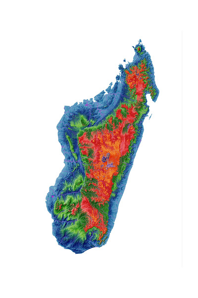 Elevation map of Madagascar
