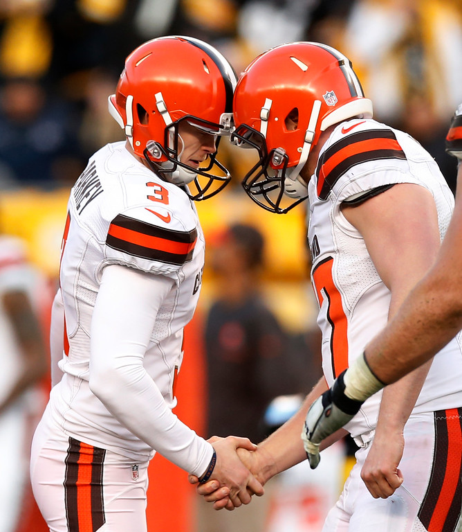 . Cleveland Browns\' Cody Parkey (3) celebrates his field goal during overtime of the team\'s NFL football game against the Pittsburgh Steelers in Pittsburgh, Sunday, Jan. 1, 2017. The Steelers won 27-24. (AP Photo/Jared Wickerham)
