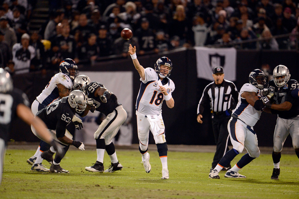 . Denver Broncos quarterback Peyton Manning (18) throws a pass down field against the Oakland Raiders  in the thrid quarter Thursday, December 6, 2012 during Thursday Night Football at O.c Coliseum in Oakland  John Leyba, The Denver Post