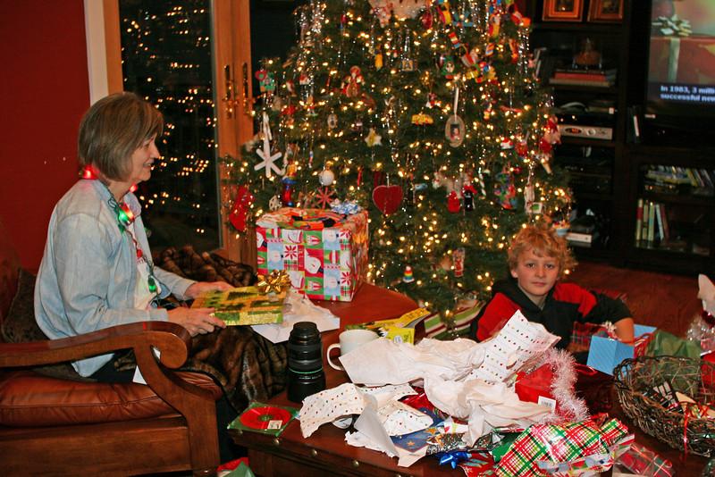 Nana and Wyatt on Christmas morning