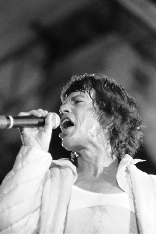 . Mick Jagger of the Rolling Stones performs before a packed crowd at the Tangerine Bowl in Orlando, Fla., Oct. 24, 1981.  (AP Photo/Phil Sandlin)