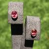 .79ctw Oval Padparadscha Sapphire Bezel Stud Earrings 9