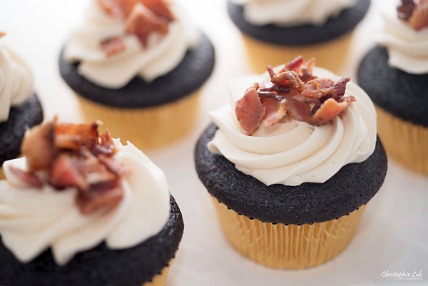 Cakelette Bakeshop - Valentine's Day - Maple Candied Bacon Chocolate Cupcakes with Gold Foil
