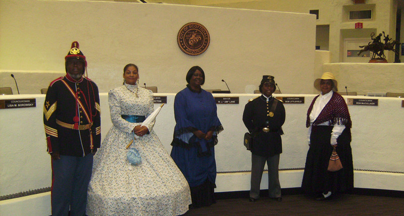 """ARIZONA BUFFALO SOLDIERS, MESA, AZ. Mayor W.J. """"Jim"""" Lane, City of Scottsdale Council Meeting.  Open Ceremony:Posting Colors"""". Special Invite: Buffalo Soldiers of the AZ Territory- Ladies of the Regiment. AZ August 31, 2010."""