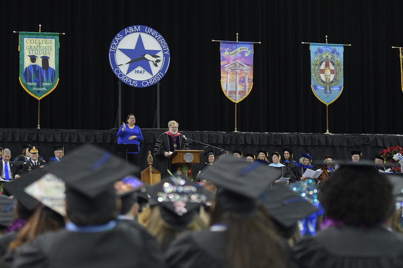 Mr. Charles Schwartz, Chairman for the Texas A&M University System Board of Regents, delivers the commencement address.