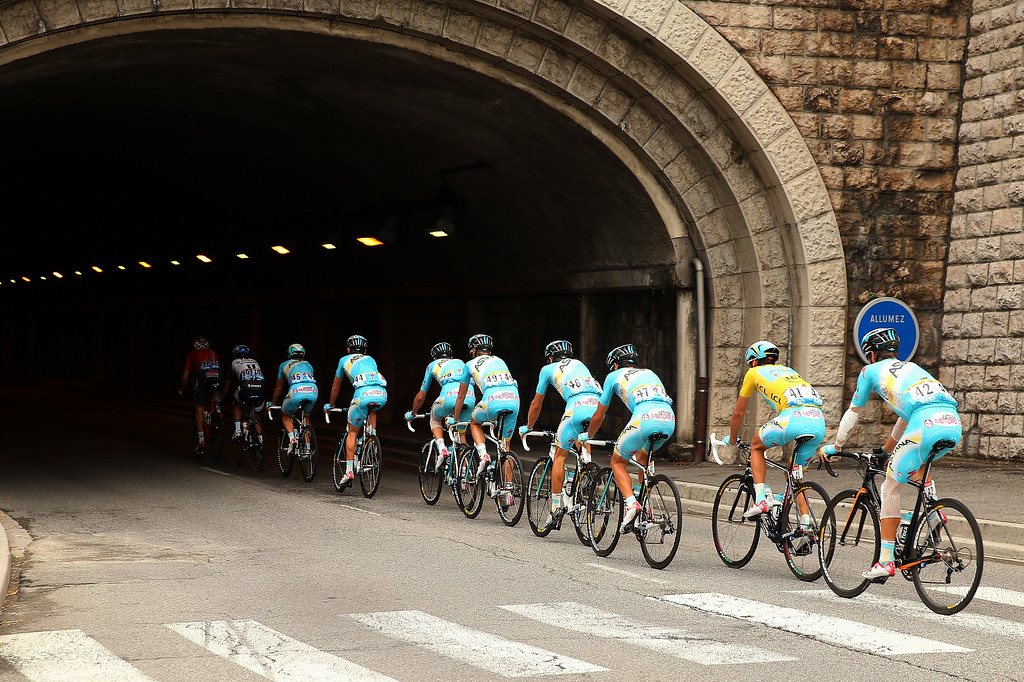 . Race leader Vincenzo Nibali of Italy rides into a tunnel with his Astana Pro Team during the fifteenth stage of the 2014 Tour de France, a 222km stage between Tallard and Nimes, on July 20, 2014 in Nimes, France.  (Photo by Bryn Lennon/Getty Images)