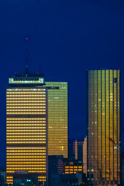 Boston at night from Brookline