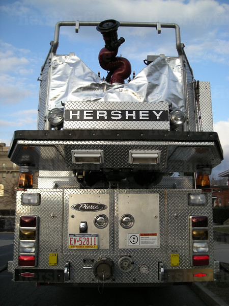 Chrome HERSHEY lettering removed from cab front of the 1994 Duplex