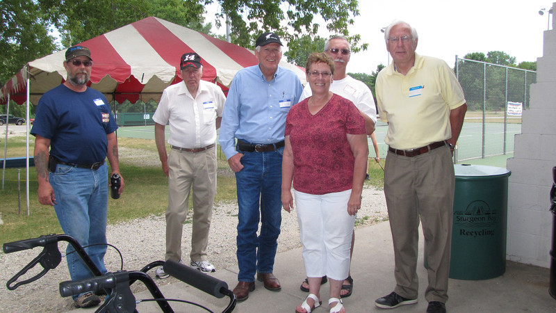 Clark cousins- Dale Grovogel, Bob, Tom, Roger & Mike Clark, and Judy Phillips