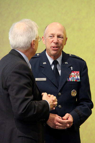 David Swartling, secretary of the ELCA, greets Chaplain, Major General Howard D. Stendahl, Chief of Chaplains for the United States Air Force.