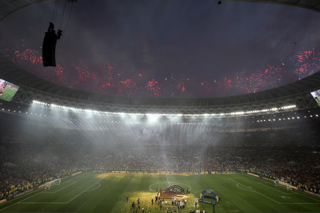 . Fireworks explode above the stadium at the end of the final match between France and Croatia at the 2018 soccer World Cup in the Luzhniki Stadium in Moscow, Russia, Sunday, July 15, 2018. (AP Photo/Thanassis Stavrakis)