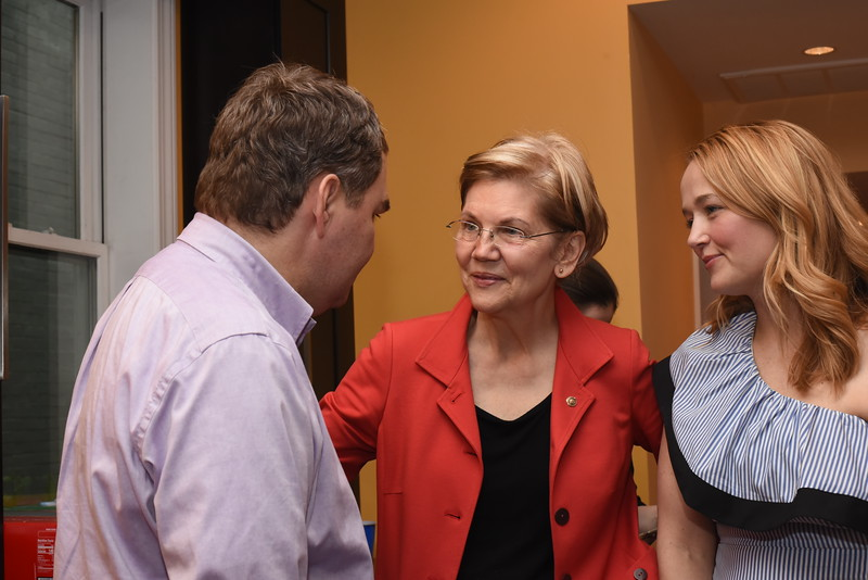 Mike Lux, Senator Elizabeth Warren, Lauren Windsor. Blue Wave Book Opening. June 5, 2018. 616 North Carolina St SE. Amanda Warden. .JPG