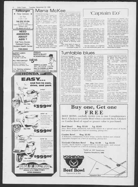 Daily Trojan, Vol. 102, No. 21, September 30, 1986