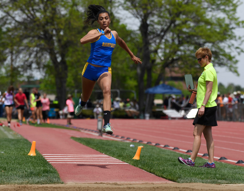 . Kiara Kearney, Rampart, launches during the girls 5A triple jump finals at the Colorado Track and Field State Championships at Jeffco Stadium May 21, 2016. (Photo by Andy Cross/The Denver Post)