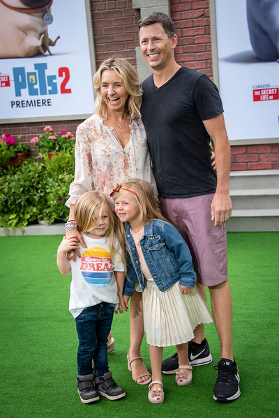 WESTWOOD, CALIFORNIA - JUNE 02: Beverley Mitchell, Michael Cameron, son Hutton and daughter Kenzie attend  the Premiere of Universal Pictures' 'The Secret Life Of Pets 2' at Regency Village Theatre on Sunday, June 02, 2019 in Westwood, California. (Photo by Tom Sorensen/Moovieboy Pictures)