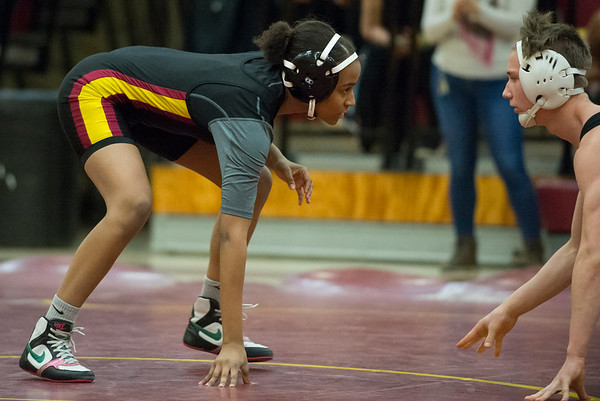 01/29/20 Wesley Bunnell | StaffrrNew Britain wrestling defeated Farmington on Senior Night on Wednesday January 29, 2020. Makhia James wrestles at 120lbs.