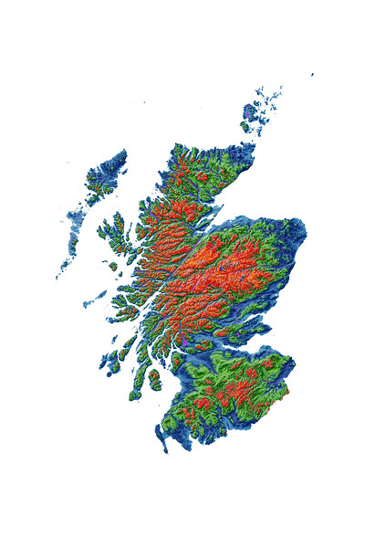 Elevation map of Scotland