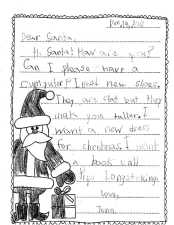 Mrs. Weir's second grade Letters to Santa, 12/12/2018