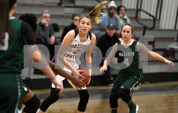 1/16/2018 Mike Orazzi   Staff Bristol Central Girls Basketball's Allison Jessie (2) and Maloney's Jaylynn Muniz (4) during Tuesday night's game in Bristol.