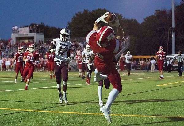 09/20/19 Wesley Bunnell | StaffrrBerlin football defeated Bulkeley on Friday night at Sage Park. Jamie Palmese (2) jumps for a touchdown catch in the corner.