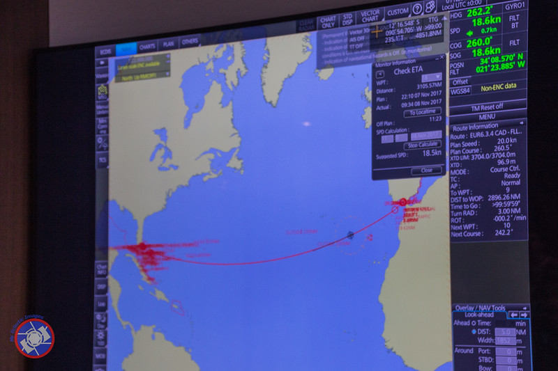A Screen from One of the Navigation Instruments Aboard the Westerdam Showing the Proposed Routing (©simon@myeclecticimages.com)