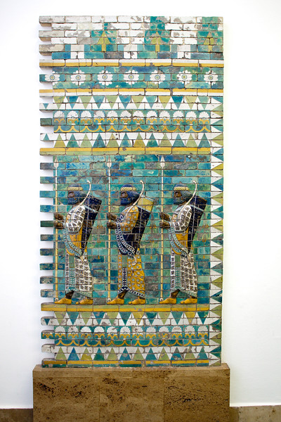 Glazed bricks from Darius I palace in Susa showing a procession of royal bodyguards, 6th-5th century BC, Pergamon Museum, Berlin, Germany
