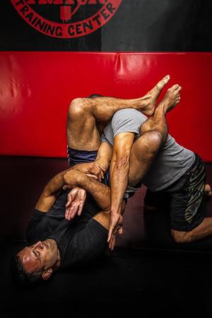 "UFC Veteran John ""The Bull"" Marsh demonstrates an arm-bar submission"