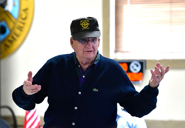 12/7/2019 Mike Orazzi | StaffrGuest Speaker Dick Fitz at the Bristol American Legion Seicheprey Post 2 on Saturday morning for the Pearl Harbor Day ceremony.
