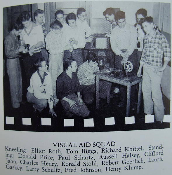 The UHS AV squad of 1956 included one girl.