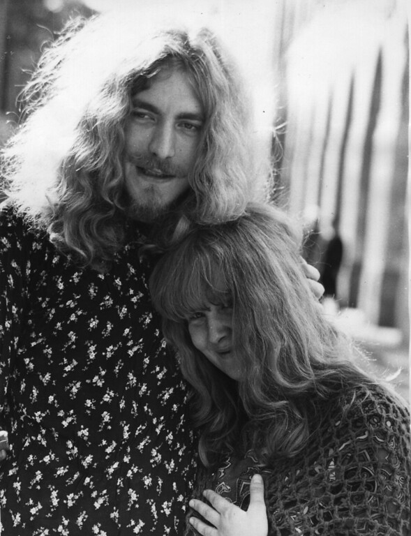 . 1st October 1970:  Folk singer Sandy Denny with Robert Plant, singer of the rock group Led Zeppelin, voted Britain\'s top singer in the Melody Maker poll.  (Photo by Michael Stroud/Express/Getty Images)