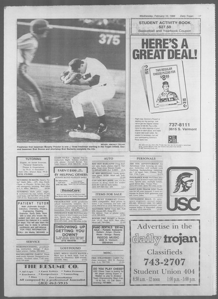Daily Trojan, Vol. 106, No. 22, February 10, 1988