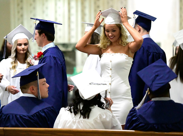 6/4/2019 Mike Orazzi | Staff St. Paul's Tori Janelle during commencement exercises at the Cathedral of Saint Joseph in Hartford Tuesday evening.