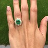 5.34ctw Emerald and Old Mine Cut Diamond Cluster Ring 11
