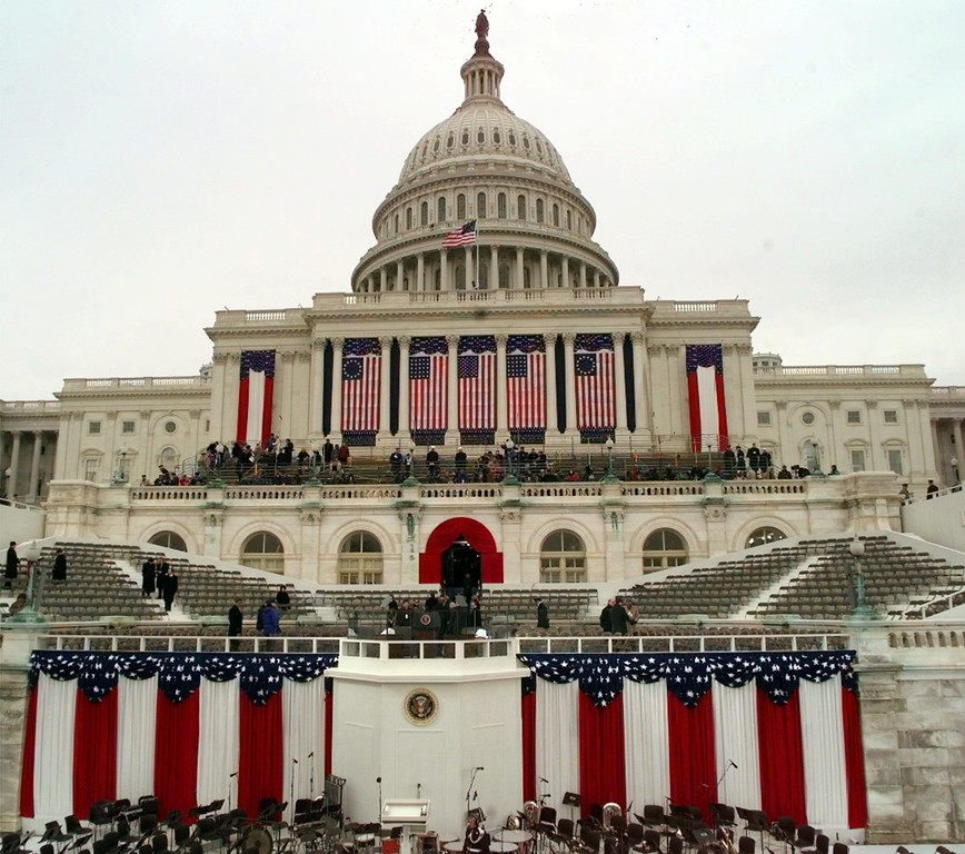 . The Capitol stands ready for the second inauguration of President Clinton Monday, Jan. 20, 1997. (AP Photo/Ron Edmonds)