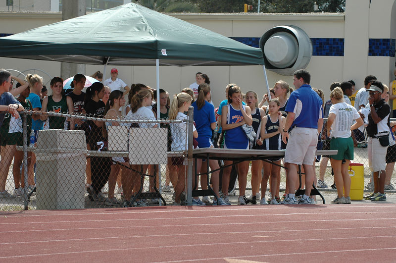 """Dan gets the Girls' 4X800m squads checked in at the """"clerking"""" area."""