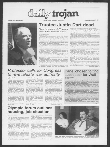 Daily Trojan, Vol. 95, No. 14, January 27, 1984