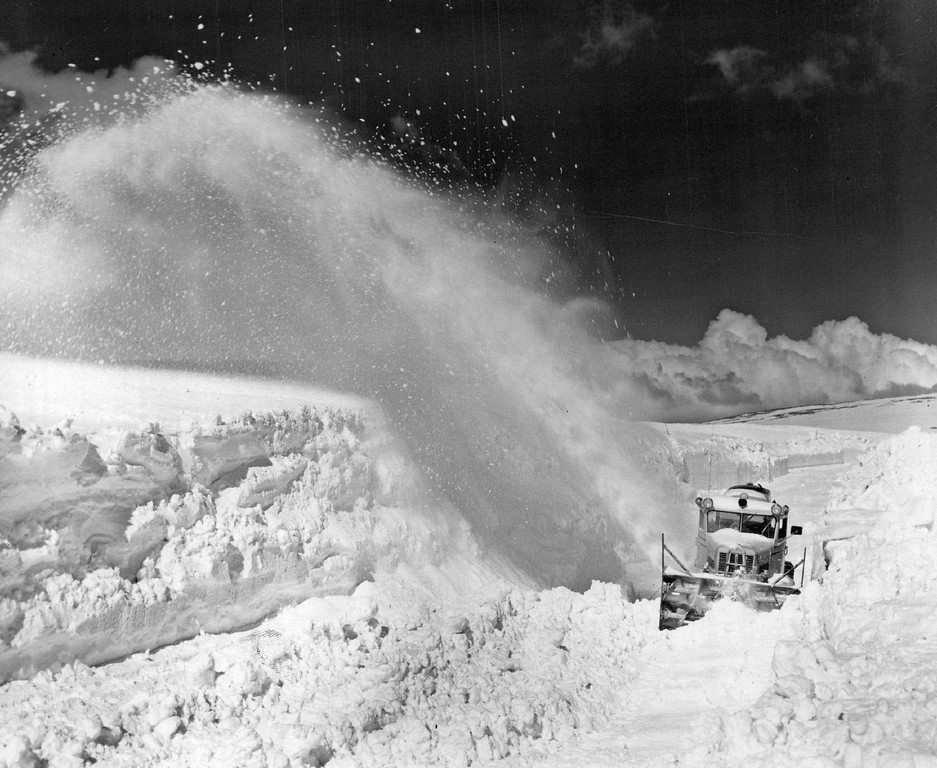. A Rotary Plow, blowing powdered snow to the side in a huge, white plume, moves up the east side of Trail Ridge Road in Rocky Mountain National Park in 1958. (Denver Post Library photo archive)