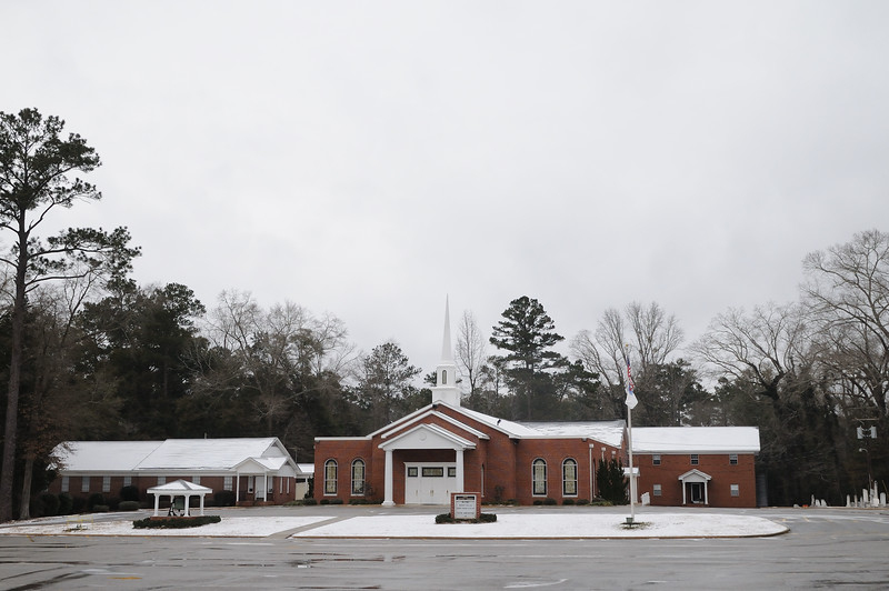 This is our church.  It looks like snow, but that is all sleet.