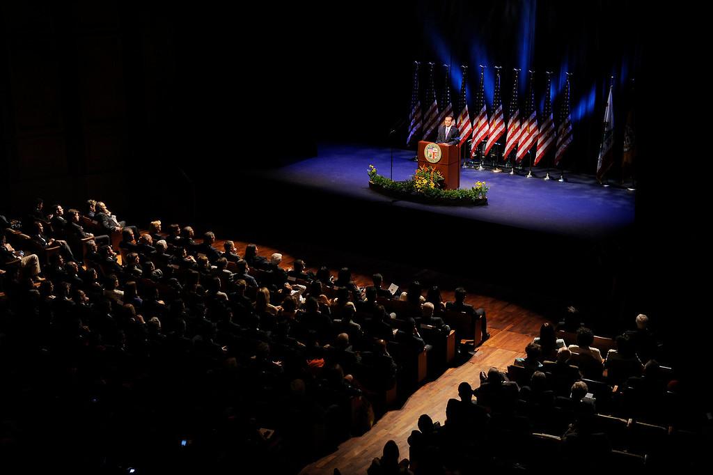 . Mayor Antonio Villaraigosa delivers his State of the City address at UCLA\'s Royce Hall, Tuesday, April 9, 2013. (Michael Owen Baker/Staff Photographer)