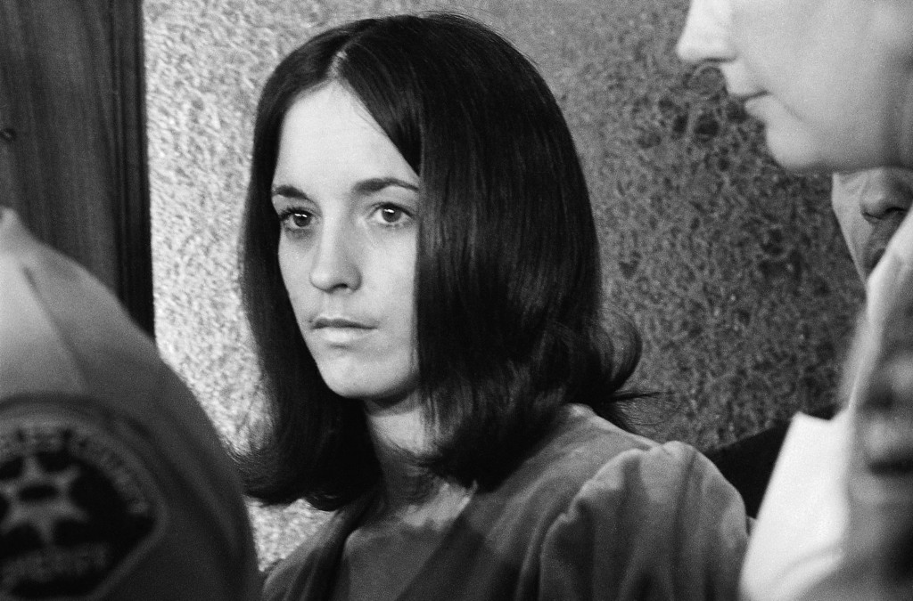 ". Susan Denise Atkins is shown as she is about to leave the Los Angeles County Mens\' Jail, March 6, 1970, after meeting with Charles Manson, one of her co-defendants in the slayings of actress Sharon Tate and six others. Manson, acting as his own attorney, had asked to question Ms. Atkins, who was a principal witness before the grand jury which indicted the hippie ""family.\"" (AP Photo/Harold Filan)"