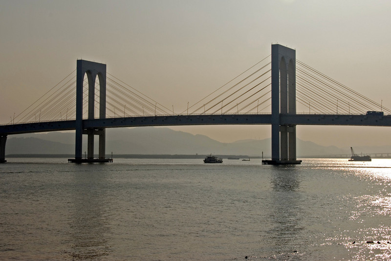 Beautiful shot of the bridge at Sunset - Macau