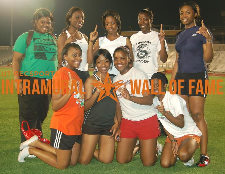 TRACK MEET Women's Team Champion SPRING 2008  TITANS  R1: Abiava Agwu, Abimbola Salami, Olufunto Adebo, Lashauntee Campbell R2: Delphine Mbachu, Oluwatobi Odunsi, Oluwafemi Salami, Oluwatoni Akindele, Blebbing Mbata Not Pictured: Myra Nwoke, Beverly Tambe