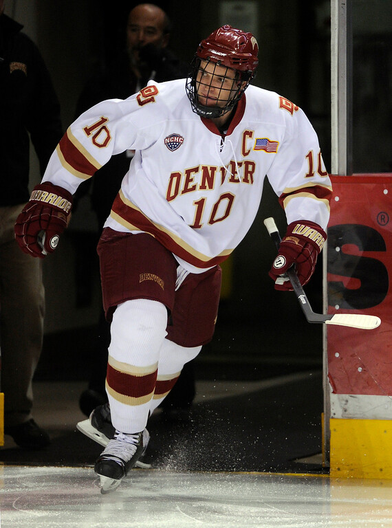 . DENVER, CO. - NOVEMBER 16: Denver defenseman David Makowski took the ice Saturday night. The University of Denver hockey team hosted Western Michigan at Magness Arena Saturday night, November 16, 2013.  Photo By Karl Gehring/The Denver Post