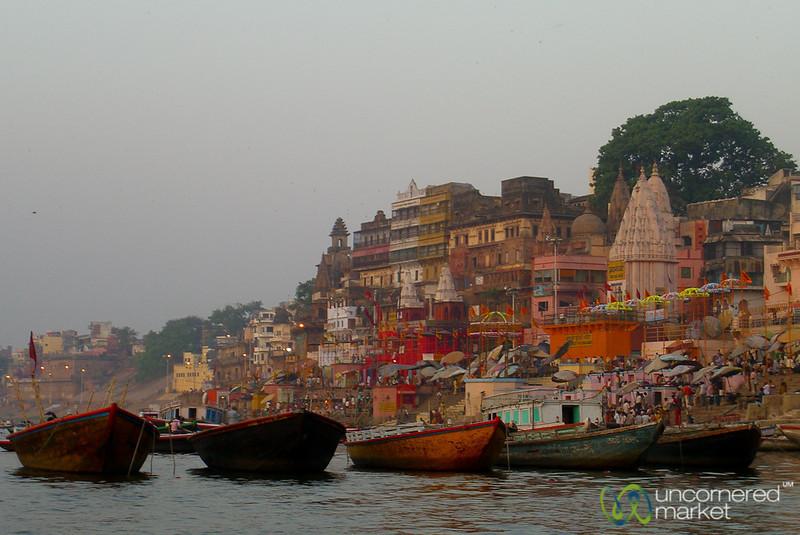 Boats at Dawn Along the Ganges River - Varanasi, India